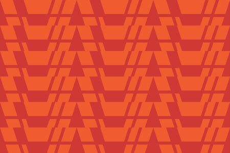 Seamless, abstract background pattern made with geometric shapes in red and orange colors. Decorative vector art.
