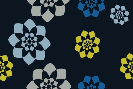 Seamless, abstract background pattern made with colorful geometric shapes in flower abstraction. Decorative vector art in yellow, blue and grey colors.