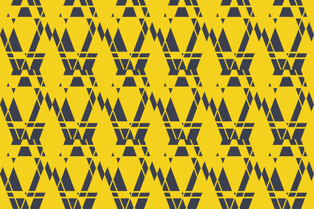 Seamless, abstract background pattern made with geometric shapes in blue and yellow colors. Bold and modern vector art. Illustration