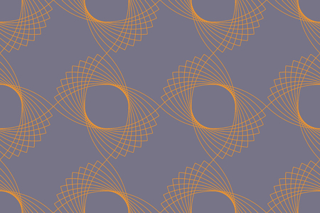 Seamless, abstract background pattern made with repeated eye shaped geometric forms. Decorative and modern vector art in yellow and blue colors.