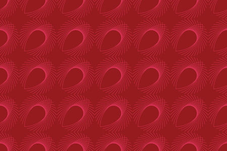 Seamless, abstract background pattern made with repeated eye shaped geometric forms. Decorative and modern vector art in pink and red colors.