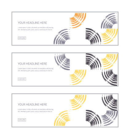 Web banner design template set consisting of abstract background patterns made with repeated brush strokes forming quarter circles. Modern, playful vector art in grey, yellow and orange colors.