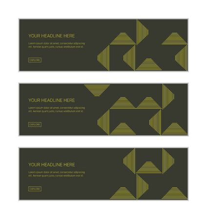 Web banner design template set consisting of abstract background patterns made with triangle shapes with thin lines. Green on dark green modern vector art.