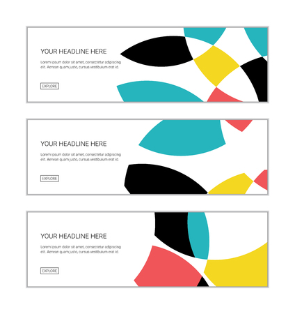 Web banner design template set consisting of abstract background patterns made with circular geometric shapes in blue, pastel red, yellow and black colors. Playful and modern vector art. 일러스트