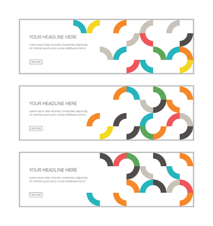 Web banner design template set consisting of abstract, patterns made with colorful, circular geometric shapes. Modern vector background for graphic design.