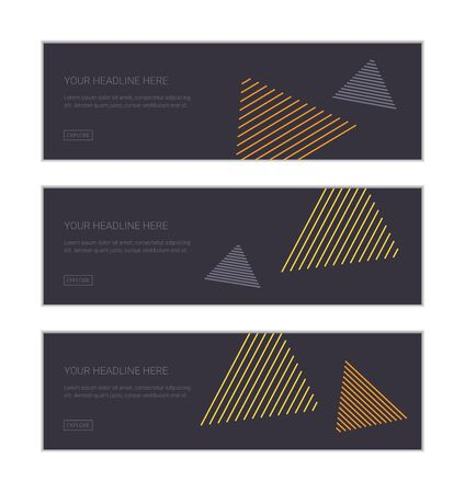 Web banner design template set consisting of abstract backgrounds made with lines forming triangle shapes in flowing in air abstraction. Playful, modern vector art in yellow and blue colors. Illusztráció