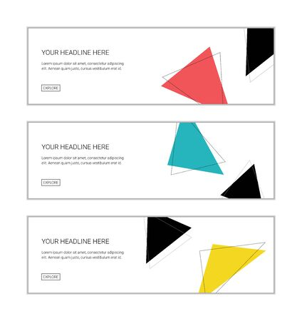 Web banner design template set consisting of abstract backgrounds of colorful triangle shapes. Modern vector background for graphic design.