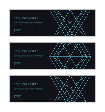 Web banner design template set consisting of abstract backgrounds made with triangular and rhomboidal shapes in technology and future abstraction. Modern vector art in blue color.