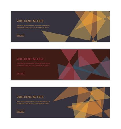 Web banner design template set consisting of abstract backgrounds made with transparent triangle shapes overlaying on each other. Modern and geometric vector art.