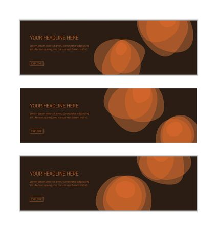 Web banner design template set consisting of abstract background patterns made with organic, geometric shapes in flower abstraction in orange and dark brown colors. Modern, playful vector art.