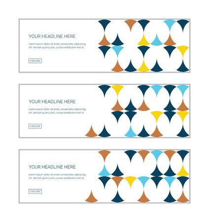 Web banner design template set consisting of abstract background patterns made with circular shapes in yellow, orange and blue colors. Modern, playful vector art.