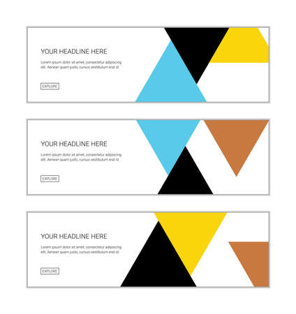 Web banner design template set consisting of abstract backgrounds made with triangle shapes in orange, yellow, black and blue colors. Modern vector art.