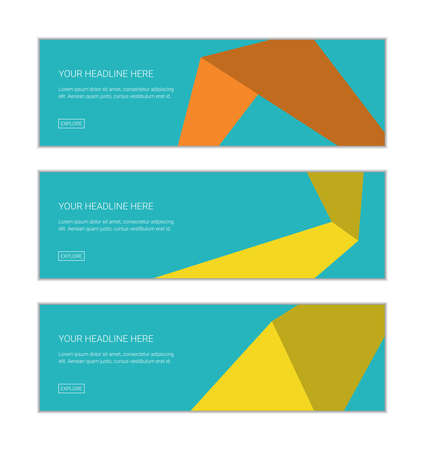 Web banner design template set consisting of abstract backgrounds made with geometric shapes in ways in space abstraction. Bright colored, modern, playful vector art in yellow, orange and blue colors.