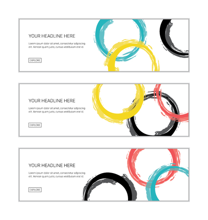 Web banner design template set consisting of abstract background patterns made with brush strokes forming circles in yellow, blue, black and red colors. Playful, vector art.