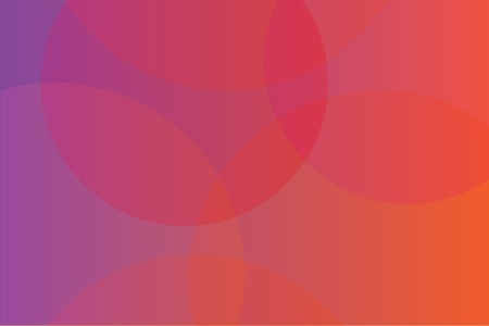 Abstract background art made with circles in trendy gradient colors of orange, pink and red. Modern, trendy vector art. Ilustração