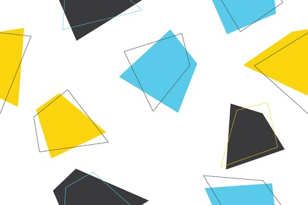 Seamless, abstract background pattern made with trapezoids in blue, yellow and grey colors. Modern, trendy, playful vector art.