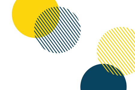 Abstract background made with geometric circles in yellow and blue colors. Memphis style modern, playful vector art. Vector Illustration