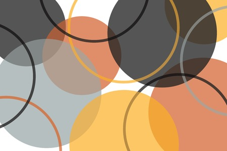 Abstract background pattern made with circle geometric shapes in grey, orange, yellow colors. Colorful, playful, trendy and modern vector art.