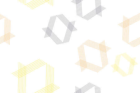 Seamless, abstract background pattern made with thin lines forming hexagon shapes in yellow, orange and black colors. Modern, decorative, geometric vector art.
