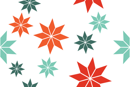 Seamless, abstract background pattern made with rhombus shapes forming flower abstraction in red and green colors. Decorative, playful vector art.
