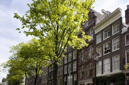 View of historical, traditional and typical buildings showing Dutch architectural style and trees in Amsterdam. It is a sunny summer day.