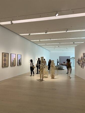 View of people visiting an exhibition at newly opened contemporary art museum in Istanbul.