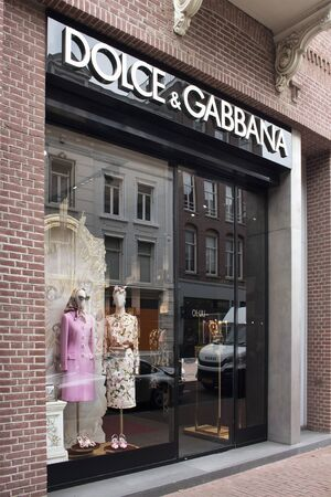 View of store of Italian fashion goods manufacturers store on on luxury shopping street named Pieter Corneliszoon Hooft in Amsterdam. It is a summer day.