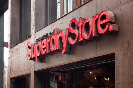 View of UK branded clothing companys store on Kalverstraat street in Amsterdam.