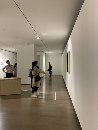 View of people visiting 16th Istanbul Biennial titled Exploring the Seventh Continent at Istanbul Museum of Painting and Sculpture.