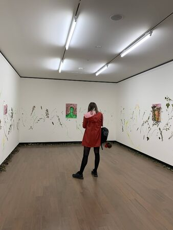 View of woman visiting 16th Istanbul Biennial titled Exploring the Seventh Continent at Istanbul Museum of Painting and Sculpture. 報道画像