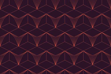 Seamless, abstract background pattern made with repeated lines forming geometric shapes. Retro style, luxurious vector art in red and purple colors. 일러스트