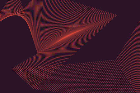Abstract background pattern made with repeated lines forming geometric shapes in 3 dimensions. Simple, modern and architectural vector art in red color.