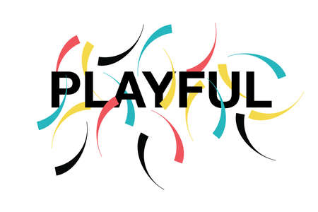 "Modern graphic design of a word ""Playful"" with circular, playful geometric shapes in red, yellow, blue and black colors. Urban typography."