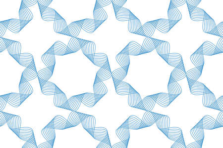 Seamless, abstract background pattern made with repeated curvy lines in flower abstraction. Modern, decorative and simple vector art in blue color. Ilustração
