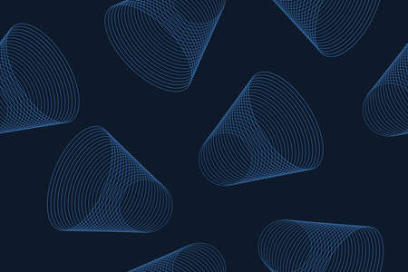Seamless, abstract background pattern made with repeated lines forming bell shapes. Simple, modern, playful vector art in tones of blue color.