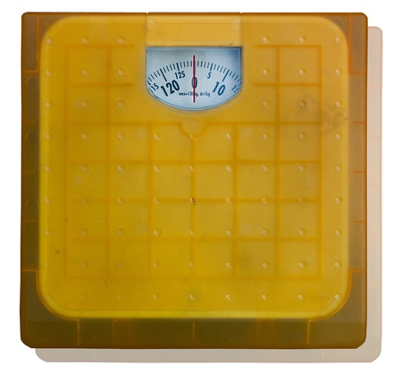 The Bathroom weight scale on white background