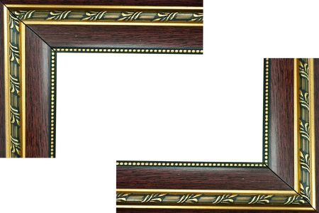 Traditional wood frame, gold stripes on a white background. Stock Photo
