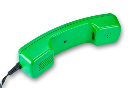 disinformation: Green phone headset isolated on white background