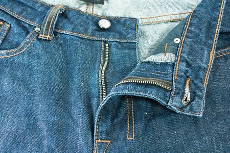 Men blue jeans. Jeans with a zipper. Stock Photo