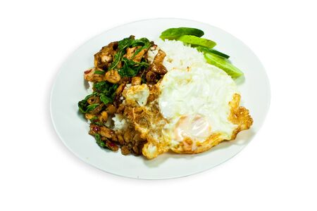 stir fried Chicken with basil and egg served with rice