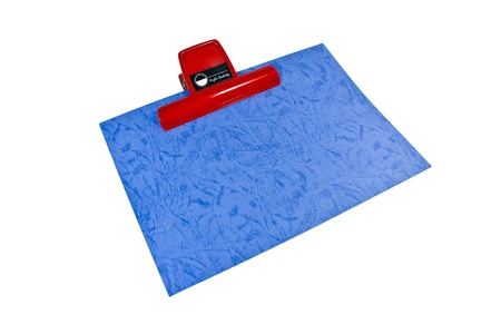 Clipboard with blank Purple paper, used for decorative purposes.