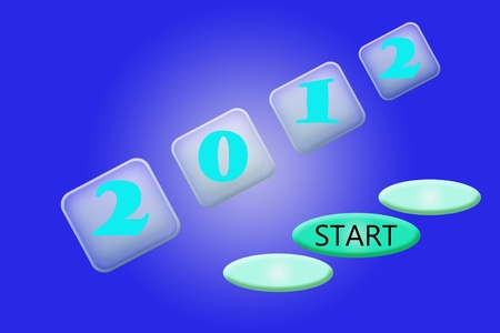 Starting in 2012 isolated on blue background. Stock Photo