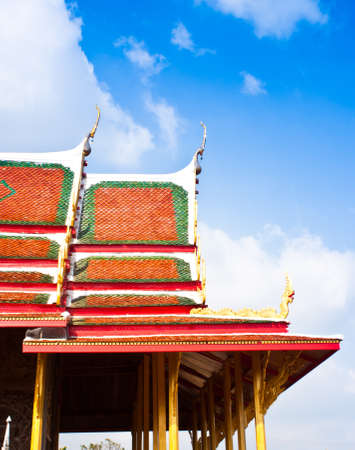 Roof Temples in Thailand are very beautiful sculptures. Stock Photo