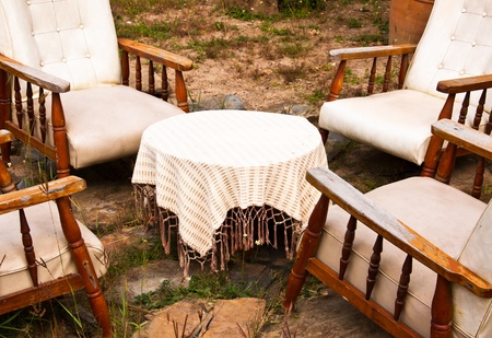Outdoor furniture in a typical patio on a sunny day