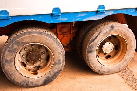 Truck tire big size. Prepared to move. Stock Photo