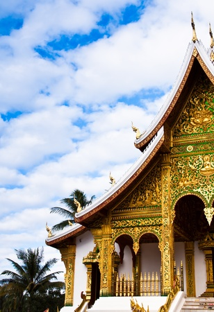 In front of the temple. The stunning architecture in laos Stock Photo