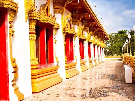 corridors: The beauty of the corridors. The Thai temple architecture. Stock Photo