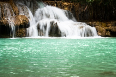 flowing river: Waterfall and blue stream in the forest Laos Stock Photo
