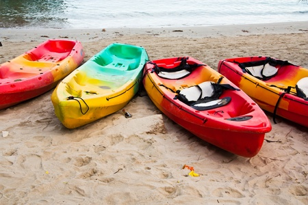 Kayaks on the beach. Get ready to be used in the game sport. And is regarded as one of the sport Editorial