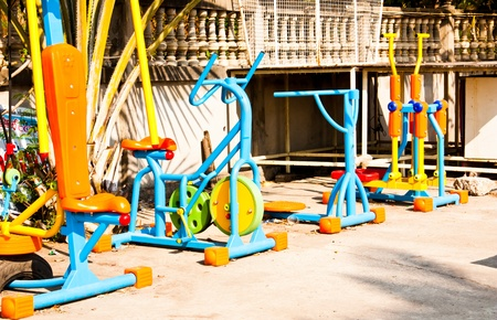 Fitness equipment. Placed outdoors in the village. Editorial